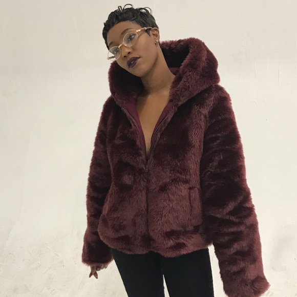 b8938df25e0 Jackets & Coats | Burgundy Faux Fur Coat | Poshmark
